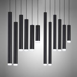 luzes de tira led comercial Desconto Criativo Luzes Pingente, Moderna Cozinha Lâmpada de Jantar Sala de Bar Balcão De Loja de Tubo de Pendente Luzes de Cozinha Luz, Cilindro De Alumínio