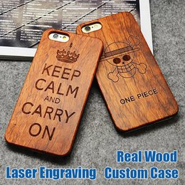 Wholesale Wood Carved - Engraving Wood Case For iPhone X Cover Carved Wooden Bamboo For iphone 6s 8 7 Plus Samsung Galaxy S8 Plus S7 edge Customized