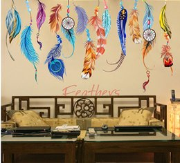 Wholesale Abstract Design Wallpaper - Classic Feather Art Wall Sticker Creative Dream Catcher PVC Wall Decals Mural Lucky Bedroom Living Wallpaper poster Home Decoration Gifts