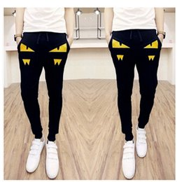 Wholesale Eye Pants - Wholesale-Performance Men's Tiro 15 Training Pant Fashion Brand Little monsters red eyes zippers Printed High Quality