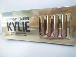 Wholesale Enamel Glitter - Single Kylie jenner Birthday Edition birthday gifts lip gloss enamel package 6pcs one box wholesale DHL Free Shipping w  factory price