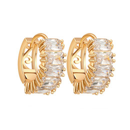 Wholesale real hoop earrings - New Fashion Earrings Hoops Real 18K Yellow Gold Plated AAA Top Quality Clear CZ Earrings Studs Hoops for Girls Women
