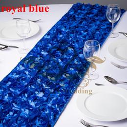 Wholesale Blue Satin Table Runners - Satin Rosette Table Runner For Wedding Decoration - Royal Blue Color