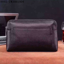Wholesale Office Factory - Men Medium Clutch top good leather double zippers clutch bags 30cm wide Men Office or casual bags factory prices