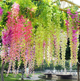 Wholesale Tulips Fake Flowers - 2017 Artificial Wisteria Fake Hanging Vine Silk Foliage Flower Leaf Garland Plant Home garden wedding Decoration Colors for choose