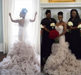 Wholesale Ruffle Bottom Wedding Dresses - Luxury Organza Ruffles Bottom Wedding Dresses 2016 Backless Mermaid With Beaded Sash Black Girl Amazing Trumpet Beach Bridal Gowns