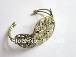 Wholesale Round Cabochon Settings Wholesale Bulk - Bulk 100piece lot Antique bronze Cameo Cabochon Setting Bezels Filigree Round Brass Cuff Bracelet Blanks