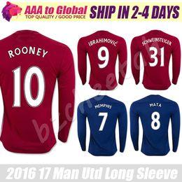 Wholesale Shirt Sport Soccer - Rooney Long Sleeve Jersey 2016 17 Ibrahimovic blue Long Sleeve Football Jersey Man sports shirts Camiseta de futbol Pogba full Sleeve Jersey