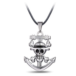 Wholesale One Pieces Anime Necklace - Hot!Japan Anime One Piece Luffy Skull Anchor Pendant Necklace For Fashion Anime Cosplay Leather Chain Pendant Necklace Jewelry Gift
