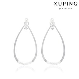 Wholesale Clip Earrings Wholesale Fashion - Manmade Pearl Ear Cuff for Lady White Little Zirconia Big Hoop Copper Clip On Earrings With Rhodium Plated Fashion Jewelry from Xuping Brand