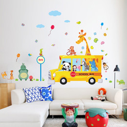 Wholesale Wall Stickers Panda - panda giraffe monkey animal school bus car home decal wall sticker for kids room child baby kindergarten funny birthday gift