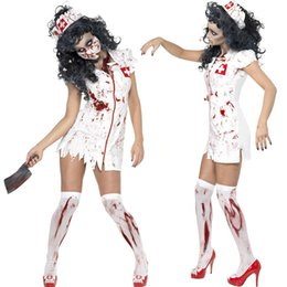 Wholesale Halloween Dress Nurse - 2016 Zombie Burst Blood Nurse Dress Halloween Cosplay Costume Carnial Fancy Party Costume For Free Shipping