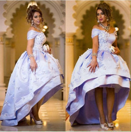 Wholesale Short Evening Taffeta Ball Dresses - Lavender High Low Evening Dresses 2016 Cap Sleeves Puffy Prom Dress Layers Beaded Front Handmade Appliques Ball Gown Cocktail Gowns