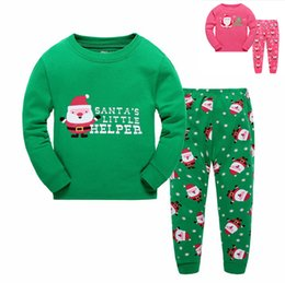Wholesale Night Clothes Sleep - Wholesale Fashion Kids Christmas Sleeping Dress Boys Girls Pajamas Sets Santa Baby Sleepwear Sleeping Clothes Night Suit Children Home Dress