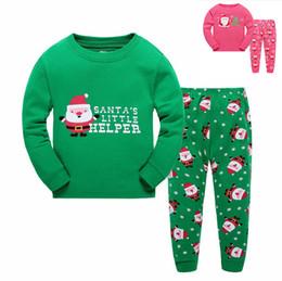 Wholesale Long Sleep Baby Suits - Wholesale Fashion Kids Christmas Sleeping Dress Boys Girls Pajamas Sets Santa Baby Sleepwear Sleeping Clothes Night Suit Children Home Dress