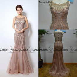 Wholesale Sexy Back Cocktail Dresses - Great Gatsby Vintage Blush Luxury Beaded Mermaid Evening Dresses Wear yousef aljasmi Sheer Neck Cap Sleeve arabic Prom Formal Gowns