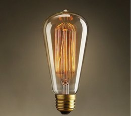 Wholesale Electric Incandescent Lamp - E27 220v Edison retro bulb ST64 40w light bulbs incandescent tungsten bulbs nostalgia decorative engineering electric bulb filament lamp art
