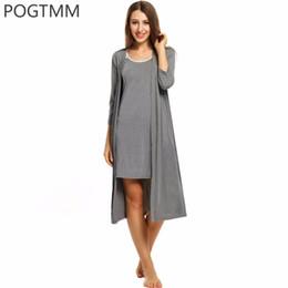Wholesale Ladies Night Sleeping Dress - Wholesale- Women's Sleepwear Nightgown and Robe Set Lady Rayon Knee Length Bathrobe Homewear Sleeping Wear Clothing Female Lace Night Dress
