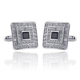 Luxe cristal diamant carré boutons de manchette boutons de manchette en métal bouton femmes hommes chemises robe costume boutons de manchette en argent bijoux en or 170597 ? partir de fabricateur