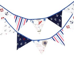 2017 bannière de bourrage de tissu Nouveau Arrivée 12 drapeaux 3.2m Pirate Theme Drap de coton Bunting Pennant Drapeaux Banner Garland Wedding / Birthday / Baby Shower Party Decoration bannière de bourrage de tissu sur la vente