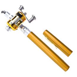 Wholesale Mini Ice Fishing Rods - Mini Portable Pocket Fish Pen Aluminum Alloy Fishing Rod Pole Reel Wholesale Hunting & Fishing Rod reels combos