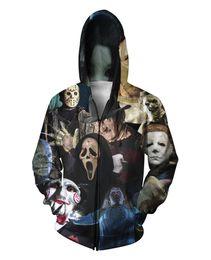 Wholesale Hoody Plus Size Women - Wholesale-Harajuku men women hoodie 3D full print horror movie killers Halloween Devil Zombie sweatshirt hoody outerwear plus size S-XXL