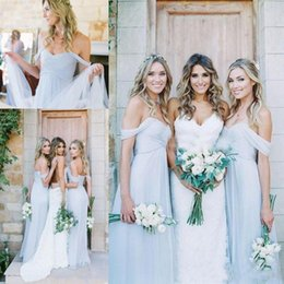 Wholesale Girls Under Wears - Beach Bridesmaid Dresses Long Cheap Chiffon Ruched Off The Shoulder Summer Wedding Party Gowns Tulle Simple Party Dress Girls Formal Wear