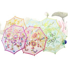 Wholesale Wholesale Lace Parasol Umbrellas - Mini Small Umbrella Children Dancing Props Craft Lace Embroidery Umbrella Stage Performance Party Gifts Souvenir ZA1287