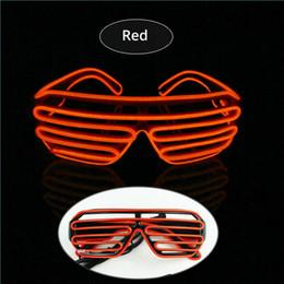Wholesale Neon Glasses Frames - Red EL Glasses EL Wire Fashionable Neon LED Light Glowing Sunglasses Rave Costume Party DJ Multiple Colors Black Frame
