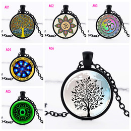 Wholesale necklace for men s - New Tree of Life colorful cat's eye Pendant Necklaces Round Glass Cabochon Time gem Vintage Necklace Link chain For women men s Jewelry