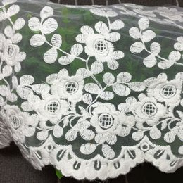 Wholesale Diy Clothes Dress Flowers - Popular 1 Yard White Embroidery Flower Lace Trims Clothes Dress Decor DIY Lacework Tulle Fabric Handmade Lace Accessories YR0061 salebags