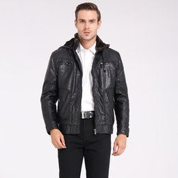 Wholesale Plus Size Leather Hoodie - Fall-Plus US Size M-3XL Man Coat Fashion Brand Clothing Autumn Hoodies Thicken Velvet Men's Leather Jacket Winter Motorcycle Jackets