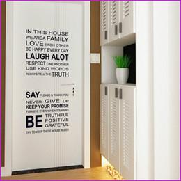 Règles de la maison stickers muraux en Ligne-Proverbes anglais Wall Sticker Famille Maison Règles Stickers Muraux Decal Amovible Décor Home Enfants Grand Cadeau Papiers Peints