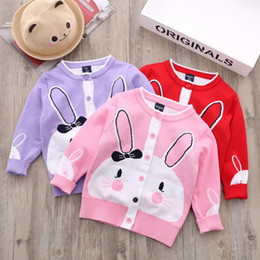 Wholesale Pink Girls Cardigan - Cardigan Sweater for girl Lovely Bunny Sweet Lace neck Cotton Knitwear Coat Children clothing 2017 Autumn Pink Red Purple