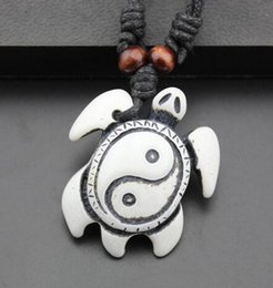 Wholesale Carved Bone Pendants Necklaces - For Christmas Gifts Fashion Jewelry Imitation Yak Bone Carving Turtles Pendant Adjustable Cord Necklace