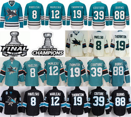 Wholesale Green 12 - 2016 Stanley Cup Finals Jerseys Hockey Champions San Jose Sharks 8 Joe Pavelski 12 Patrick Marleau 19 Joe Thornton 39 Couture 88 Brent Burns