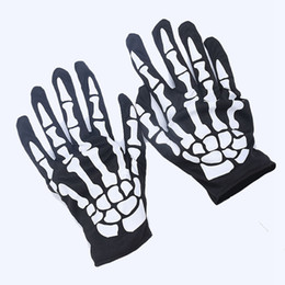 Wholesale Masquerade Cosplay Dresses - Halloween Skeleton Bone Fancy Dress Gloves Cosplay Gloves Skull Glove For Party Carnival Masquerade Easter Gloves 1000pairs OOA2898