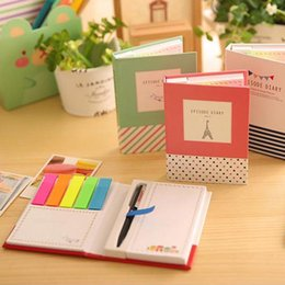 Wholesale Post Pen - Wholesale-creative hardcover memo pad post it notepad sticky notes kawaii stationery diary notebook office school supplies + pen