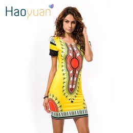 Wholesale Indian Lady Dress - HAOYUAN Summer Dashiki Dress for Women 2017 Casual Mini African Print Sundress Ladies African femme Clothing Indian Dresses q1110