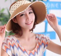 Wholesale Pink Polka Dot Straws - 7 Colors Adult Women's Fashion Summer straw Hat Polka Dot Sun Shade Outdoor Folding Beach Hat Sun Hat Empty Top Hat