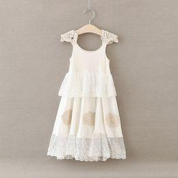 Wholesale Long Style Bohemia Dress - Girl Lace Flower Dress Baby Girl Long Pattern Bohemia Princess Party Dress Kids Soft Cotton Summer Dress
