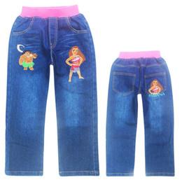 Wholesale Infant Denim Jeans - 2017 Hot Girls Jeans cartoon Print Soft Denim Cotton Pants For Girl Trousers Children Clothing Infant Autumn Pant