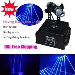 Wholesale Moving Light Bar - 360° Rotation 200mw Blue Mini Moving head Laser Light for DJ Bar DMX512 Model Stage Laser Projector Effect of Laser Curtain