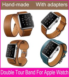 Wholesale double tour - The Extra Long Double Tour Genuine Leather Strap For Apple Watch Series 3 2 With Original Stainless Steel Adapters 38mm 42mm Are Available