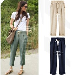 Canada Elastic Waist Linen Pants For Women Supply, Elastic Waist ...