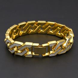 Wholesale Flashing Links - 2017 Men's Luxury Flash Powder Diamond Fashion Bracelets Gold Plated Hip Hop Jewelry Cuban Bracelet High Quality Cloisonne Bracelet