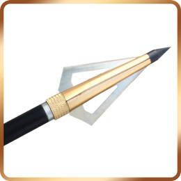 Wholesale Crossbow Gold - Hot Sale!!12pcs 125grain Bow and Crossbow arrow broadhead, Gold Hunting Fixed Broadheads Archery Head Arrows Free Shipping