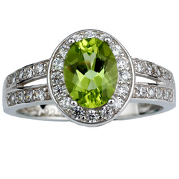 Wholesale Natural Stone Rings Sterling Silver - Fine Jewelry Natural Green Peridot 925 Sterling Silver Ring Women Bague Bijoux Anniversary Gift