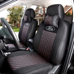 Wholesale Seat Cover Ford Focus - grey red black silk breathable Embroidery logo Car Seat Cover For FORD Focus Fiesta F-Series Mondeo S-MAX with 2 neck pillows