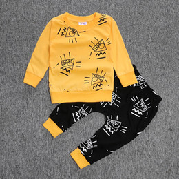 Wholesale Toddler T Shirt Pattern - By SF Ins 2016 autumn Fall baby clothes sets Long sleeve Milk outfits Fashion pattern Toddler clothing cotton T-shirts pants sets wholesale